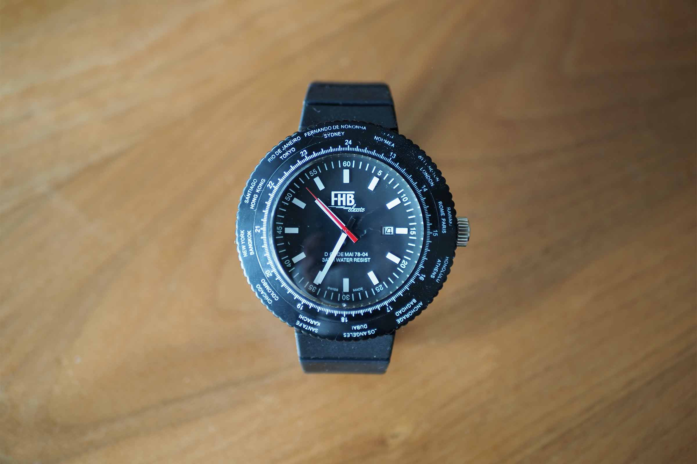 FHB,腕時計,黒,メンズ,ビッグフェイス,お洒落,