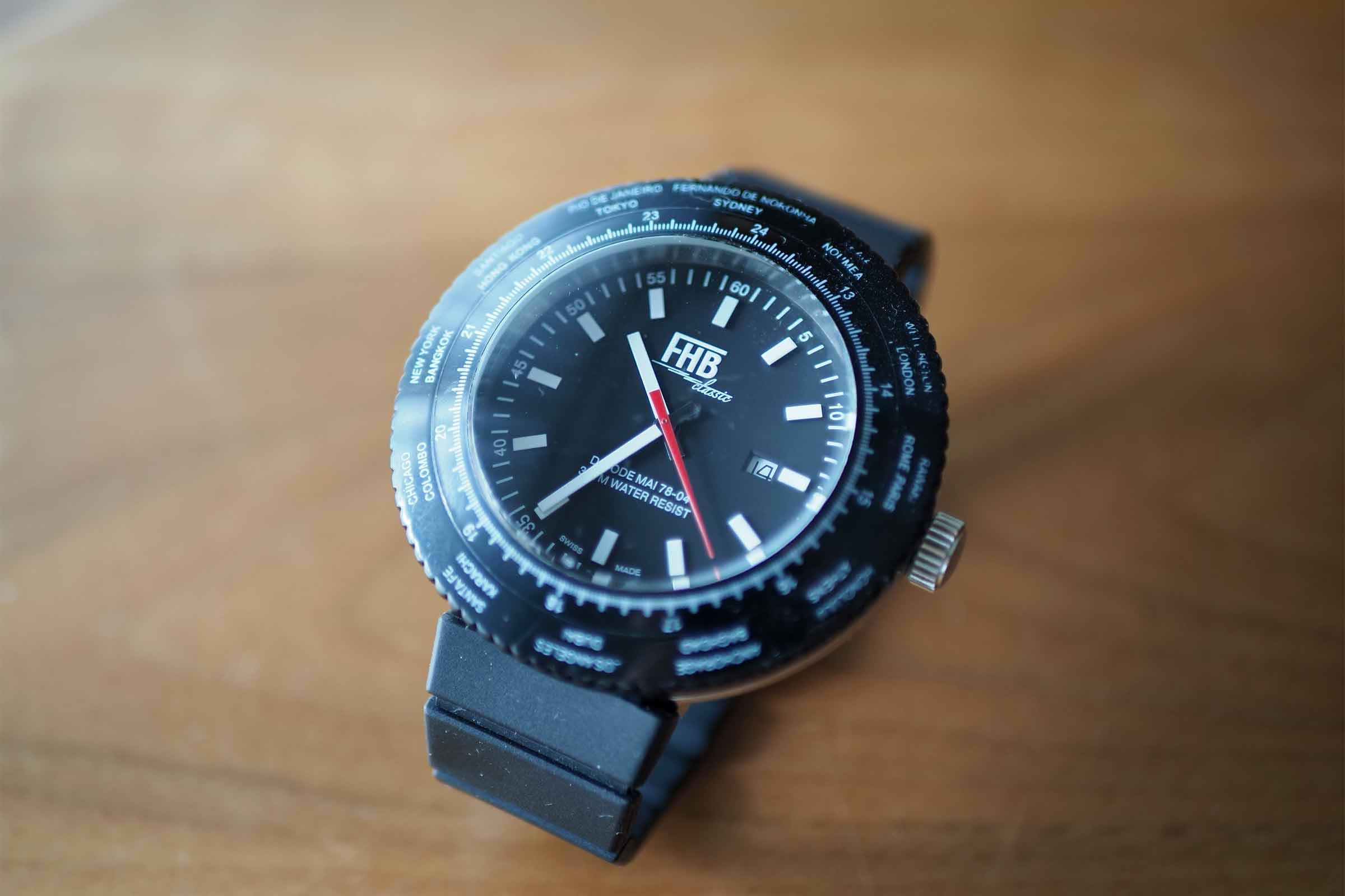 FHB,腕時計,黒,メンズ,ビッグフェイス,お洒落,カッコいい