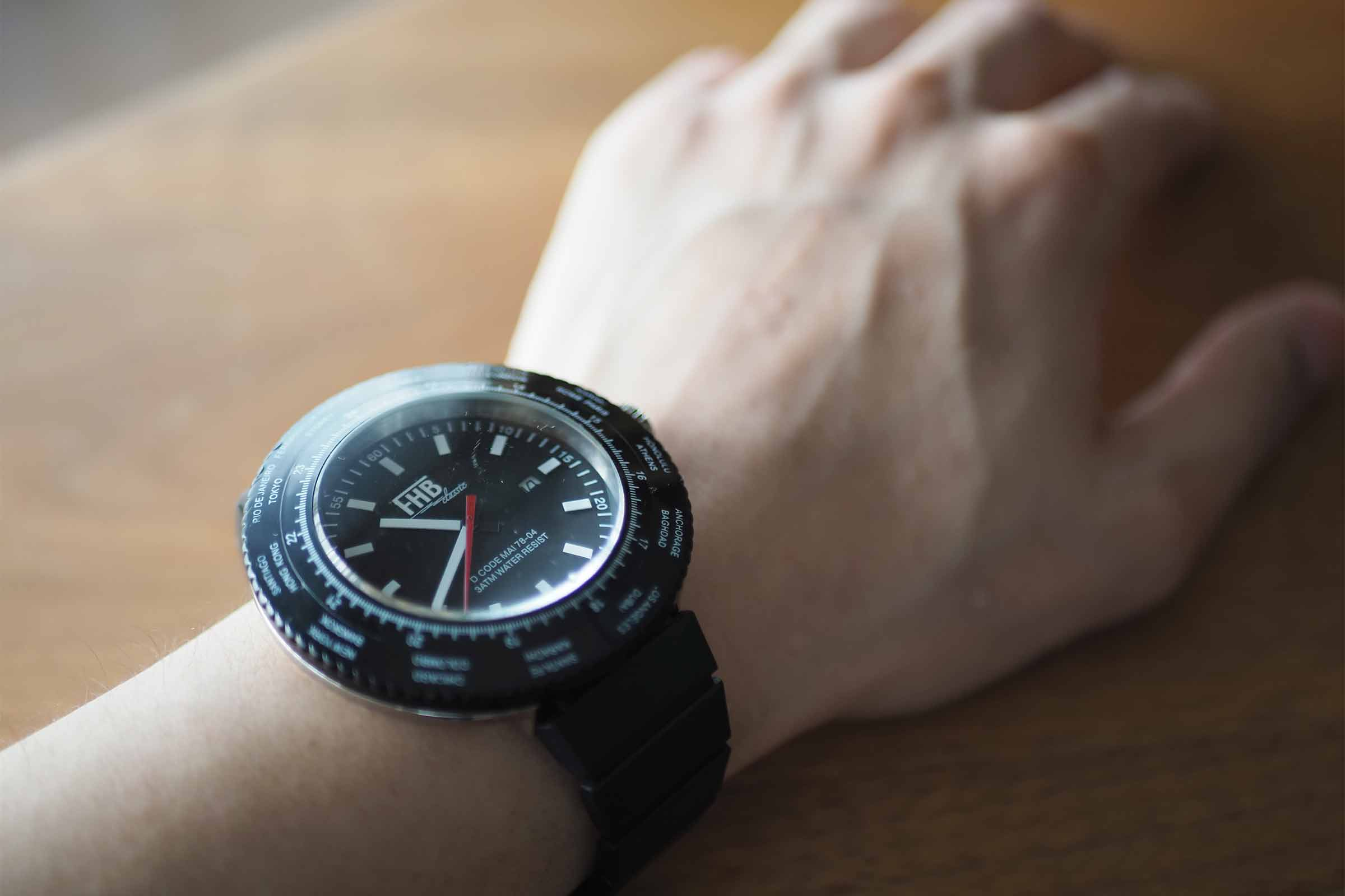 FHB,腕時計,黒,メンズ,ビッグフェイス,お洒落,大人