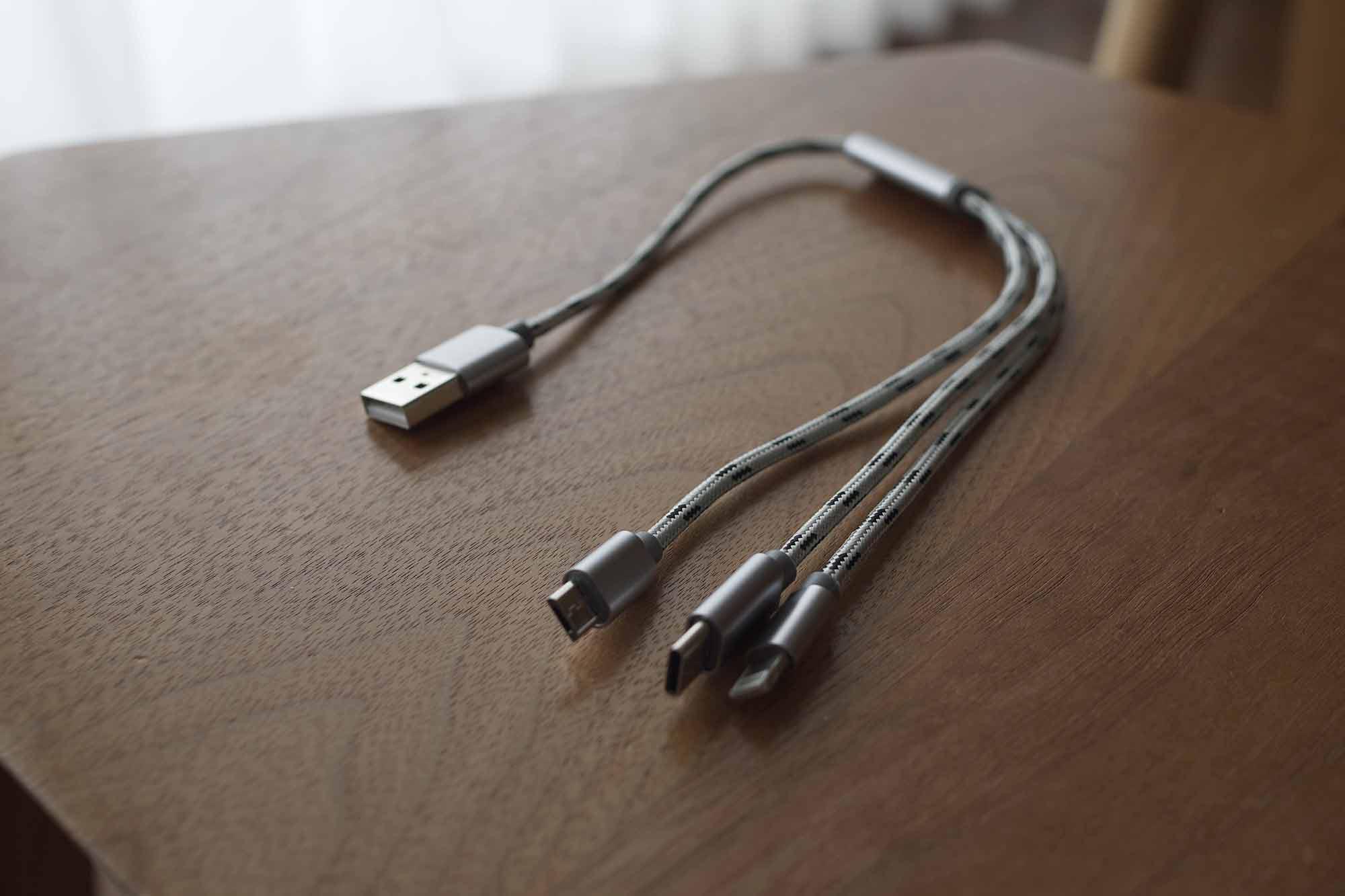 充電ケーブル,USB-C,microUSB,ライトニング,3in1,コンパクト,短い,軽い
