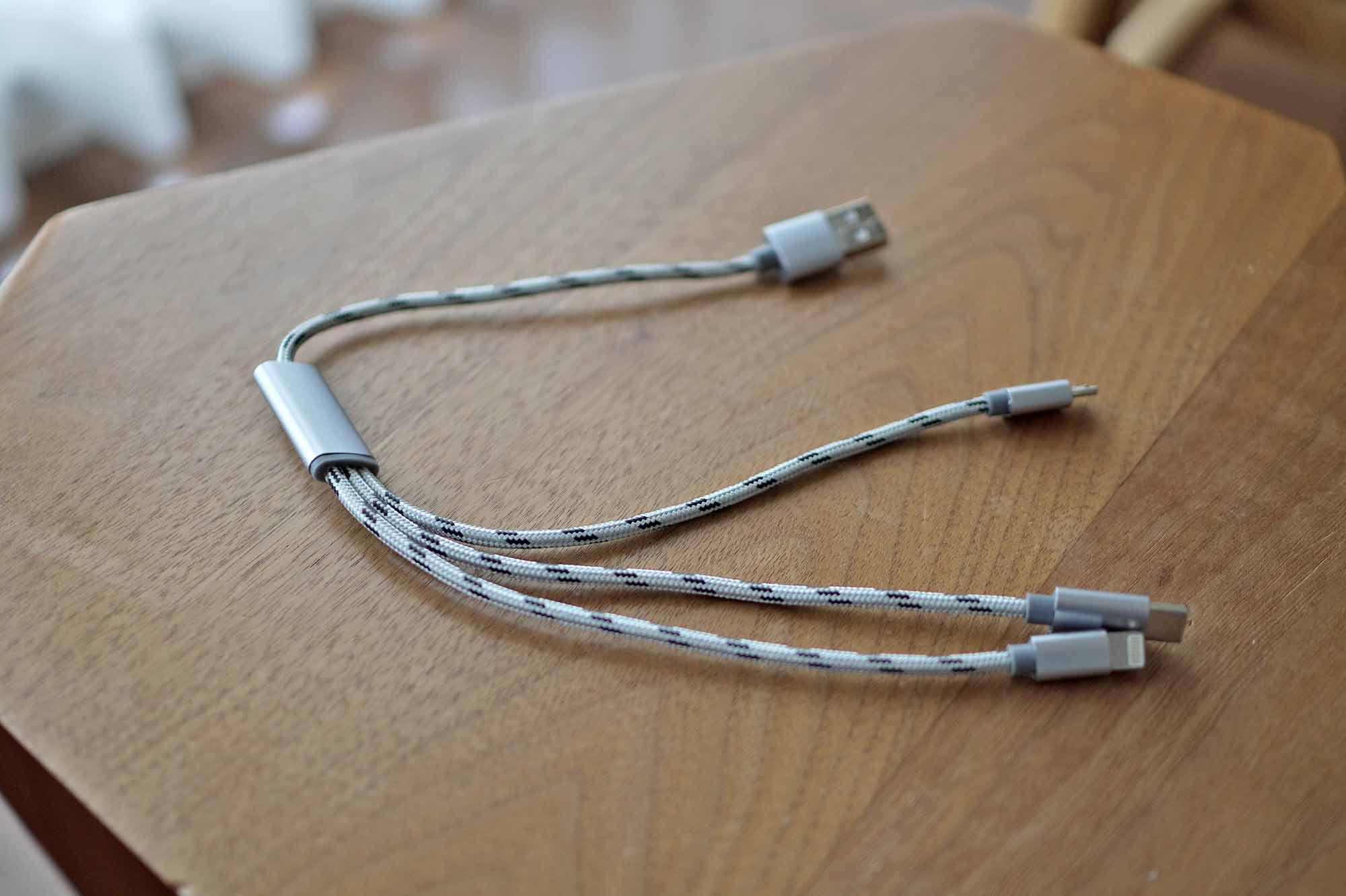 充電ケーブル,USB-C,microUSB,ライトニング,3in1,コンパクト,短い,軽い,安い