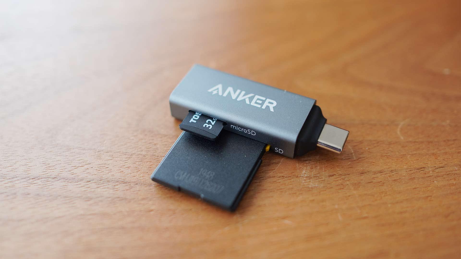 SDカードリーダー,メモリーカードリーダー,Anker,小さい,microsd,sd,持ち運びやすい