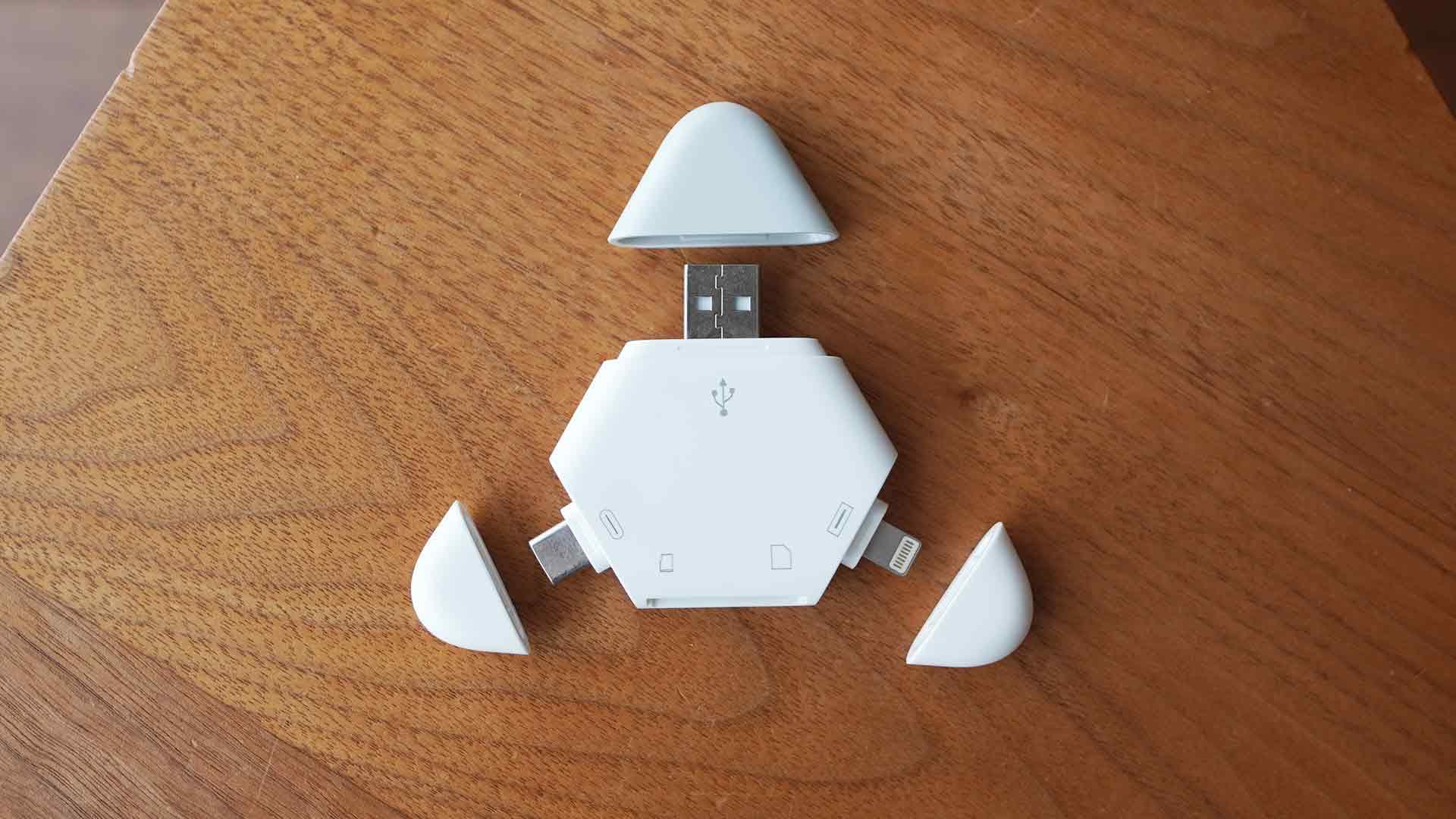 マルチカードリーダー,SDカード,USB,micro USB,Lightning,3種類