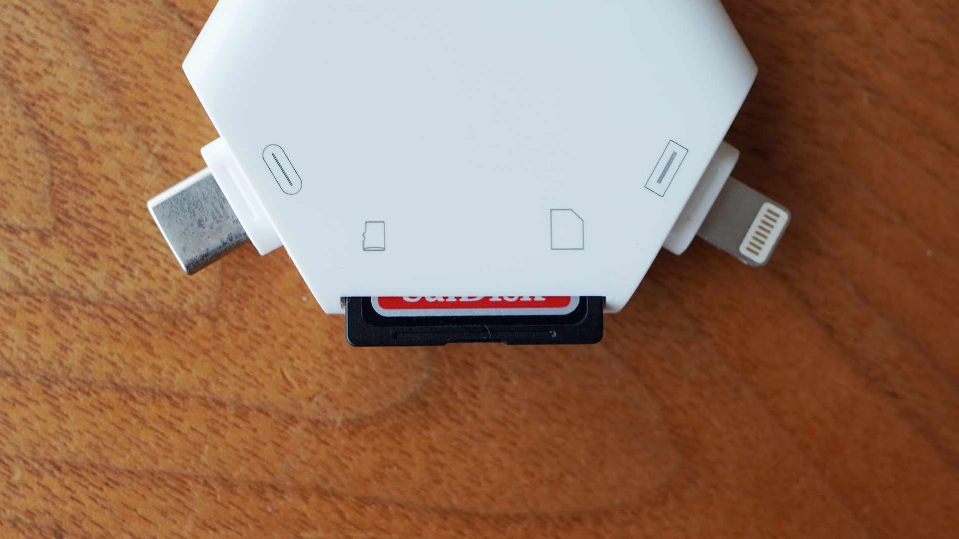 マルチカードリーダー,SDカード,USB,micro USB,Lightning,iPhone
